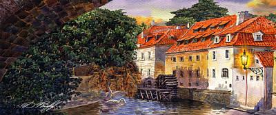 Prague Water Mill Poster by Dmitry Koptevskiy