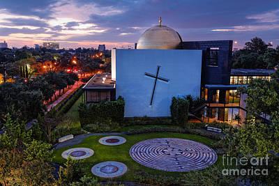 Prayer Garden Of The Chapel Of St. Basil University Of Saint Thomas - Montrose Houston Texas Poster by Silvio Ligutti