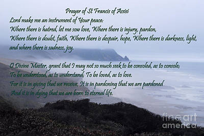 Prayer Of St Francis Of Assisi Poster by Sharon Elliott