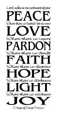 Prayer Of St Francis - Pope Francis Prayer - Subway Style Poster by Ginny Gaura