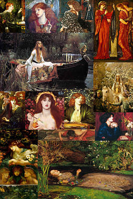 Pre Raphaelite Collage Poster by Philip Ralley