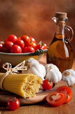 Preparation Of Italian Spaghetti Pasta Poster by Amanda And Christopher Elwell
