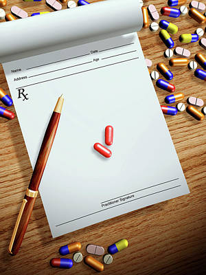 Prescription Pad And Pills Poster by Harvinder Singh