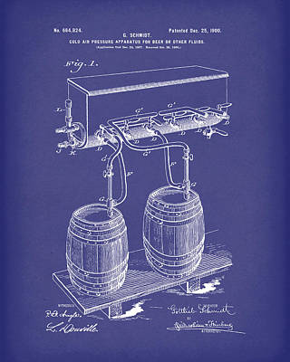 Pressure System For Beer 1900 Patent Art Blue Poster by Prior Art Design
