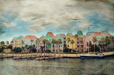 Pretty Houses All In A Row Nassau Poster by Kathy Jennings