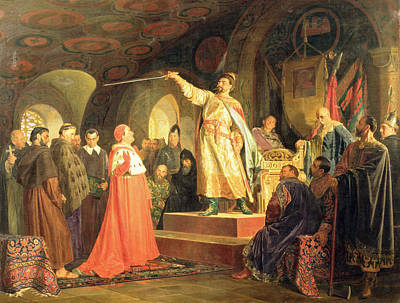 Prince Roman Of Halych-volhynia Receiving The Ambassadors Of Pope Innocent IIi, 1875 Oil On Canvas Poster by Nikolai Vasilievich Nevrev
