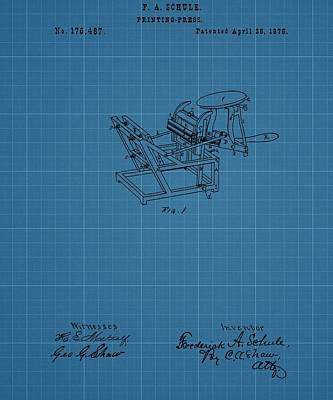 Printing Press Blueprint Patent Poster by Dan Sproul