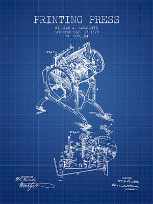 Printing Press Patent From 1878 - Blueprint Poster by Aged Pixel