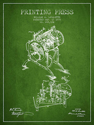 Printing Press Patent From 1878 - Green Poster by Aged Pixel