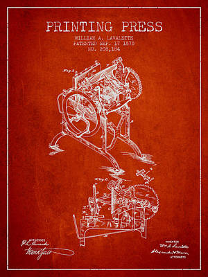 Printing Press Patent From 1878 - Red Poster by Aged Pixel