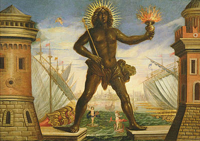 Prologue The Harbour With The Colossus Of Rhodes Oil On Canvas Poster by Giacomo Torelli