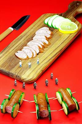 Protesting Kill The Sausages Little People On Food Poster by Paul Ge