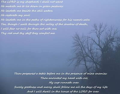 Psalm 23 Foggy Morning Poster by Dan Sproul