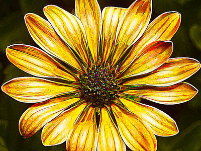 Psychedelic Daisy In Yellow Poster by Bill Caldwell -        ABeautifulSky Photography