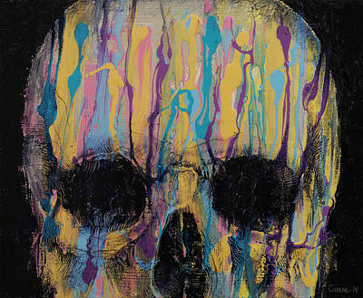 Psychedelic Skull Poster by Michael Creese