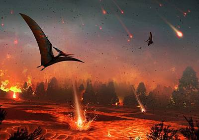Pterosaurs And Mass Extinction Poster by Mark Garlick