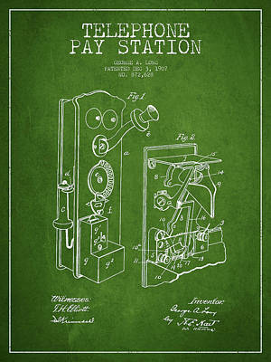 Public Telephone Patent Drawing From 1907 - Green Poster by Aged Pixel