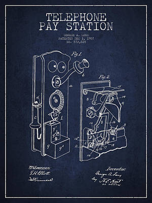 Public Telephone Patent Drawing From 1907 - Navy Blue Poster by Aged Pixel