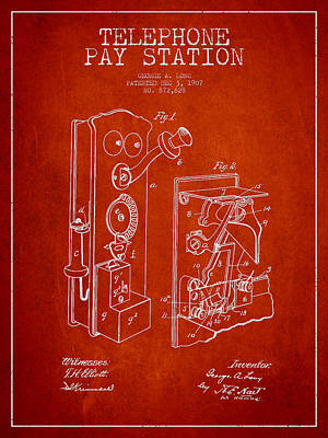 Public Telephone Patent Drawing From 1907 - Red Poster by Aged Pixel