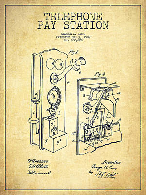 Public Telephone Patent Drawing From 1907 - Vintage Poster by Aged Pixel