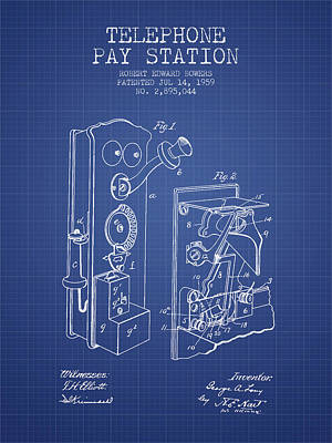 Public Telephone Patent From 1907 - Blueprint Poster by Aged Pixel