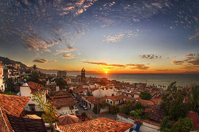 Puerto Vallarta Sunset Poster by Shanti Gilbert