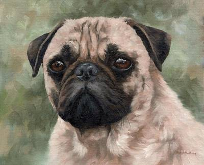 Pug Portrait Painting Poster by Rachel Stribbling