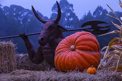 Pumpkin And Minotaur Poster by Garry Gay