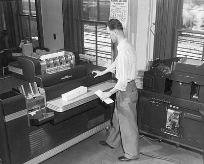 Punch Card Accounting Machines Poster by Underwood Archives