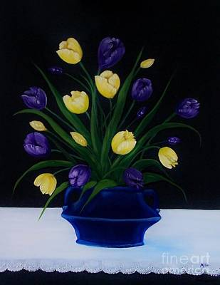 Purple And Yellow Tulips Poster by Peggy Miller