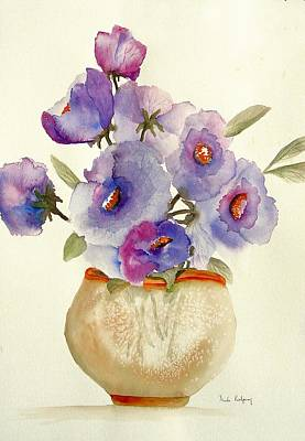 Purple Anemones In A Vase Poster by Neela Pushparaj