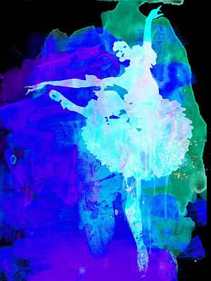 Purple Ballerina Watercolor Poster by Naxart Studio