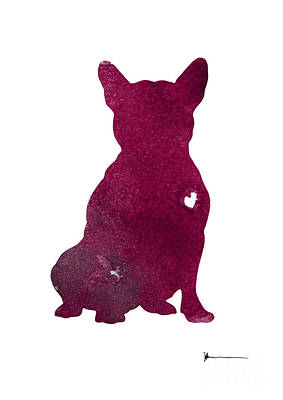 Purple French Bulldog Watercolor Art Print Painting Poster by Joanna Szmerdt