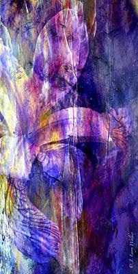 Purple Iris Abstract Poster by J Larry Walker