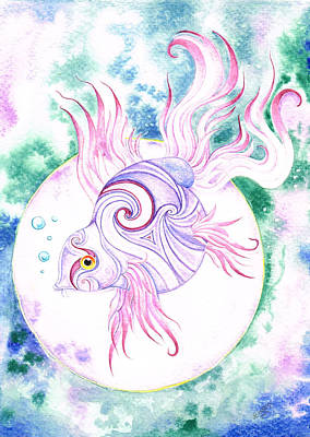 Purple Swirled Fairy Fish Poster by Heather Bradley