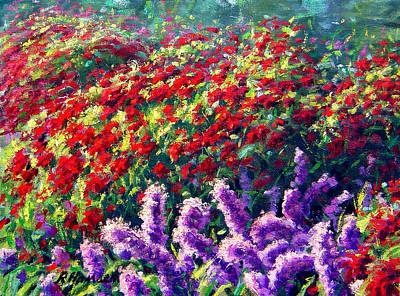 Purrple Liatris And Red Beebom Poster by Rick Hansen