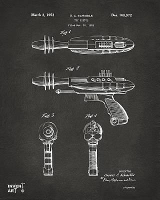 Pyrotomic Disintegrator Pistol Patent Gray Poster by Nikki Marie Smith