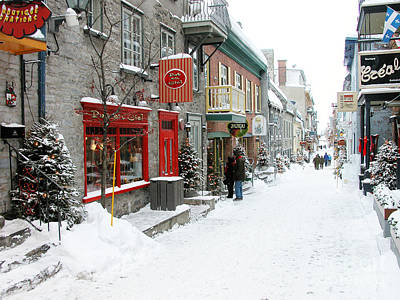 Quebec City In Winter Poster by Thomas R Fletcher