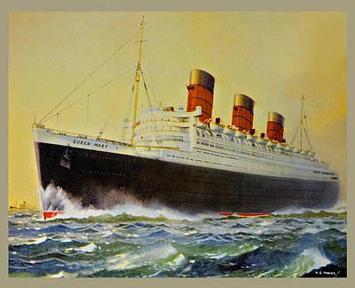 Queen Mary Postcard Poster by Susan Leggett