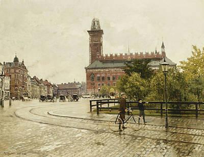 Raadhuspladsen, Copenhagen, 1893 Oil On Canvas Poster by Paul Fischer