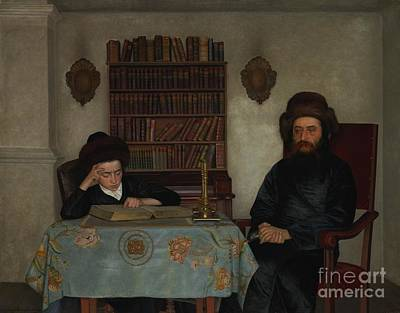 Rabbi With Young Student Poster by Celestial Images