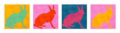 Rabbits Four Across Poster by Carol Leigh