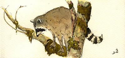 Raccoon On A Tree Poster by Juan  Bosco