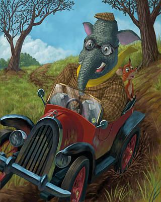 Racing Car Animals Poster by Martin Davey