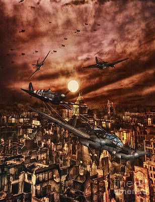 Raf Spitfire Chases A German Heinkel Over London Poster by Shawna Mac
