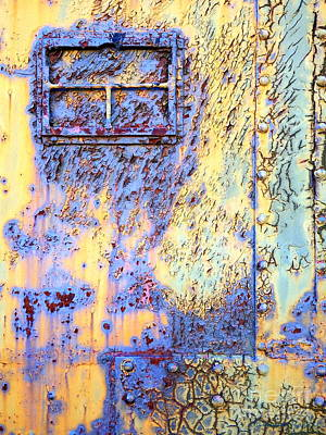 Rail Rust - Abstract - Crackled Blue Window Poster by Janine Riley