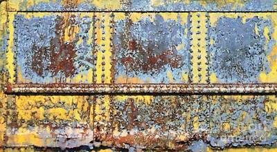 Rail Rust - Abstract - Yellow In 3 Poster by Janine Riley
