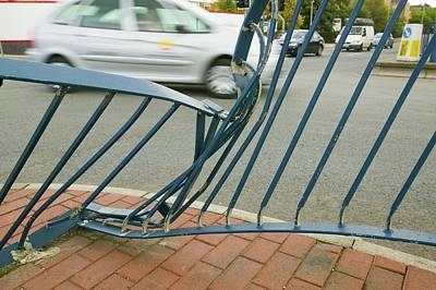 Railings Crushed By A Car Accident Poster by Ashley Cooper