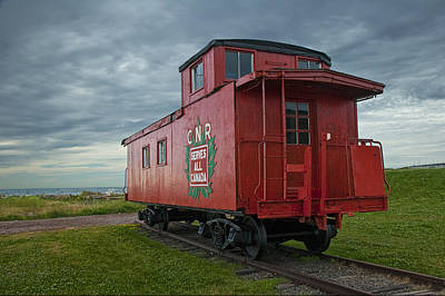 Railroad Train Red Caboose On Prince Edward Island Poster by Randall Nyhof