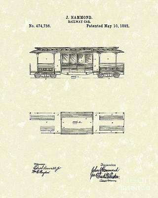 Railway Car 1892 Patent Art Poster by Prior Art Design